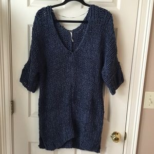 Free People Blue Chunky Knit Pullover Sweater - M